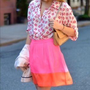 J. Crew Skirt Neon Color Block w Pockets